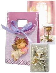 Ruženec: s krabičkou, s obrázkom, v darček. taške (ružová sada) - obrázok s modlitbou pred a po sv. prijímaní, laminovaný