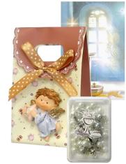 Ruženec: s krabičkou, s obrázkom, v darček. taške (hnedá sada) - obrázok s modlitbou pred a po sv. prijímaní, laminovaný