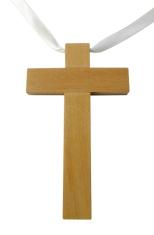 Prívesok: krížik so stužkou (42/08) - drevený