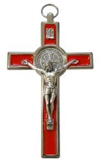 Kríž: kovový, Benediktínsky - červený (599N)