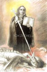 Obrázok: Sv. Veronika Giuliani (Z007) - s modlitbou, laminovaný