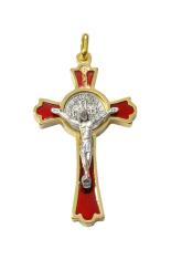 Prívesok: Benediktínsky krížik - červený (K0235zl.) - zlatá farba