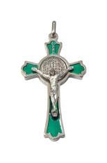 Prívesok: Benediktínsky krížik - zelený (K0235st.) - strieborná farba