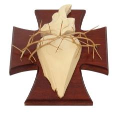 Drevorezba: Srdce na kríži - mahagónová (č.7)