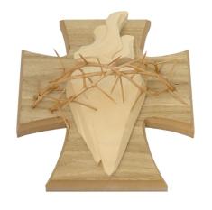 Drevorezba: Srdce na kríži - bledá (č.7)