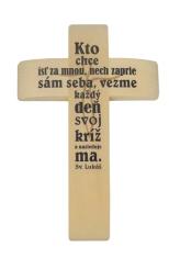 Kríž: drevený, s textom - prírodný (PM012)
