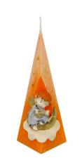 Sviečka: Anjel s mesiacom, pyramída - oranžová - 176g
