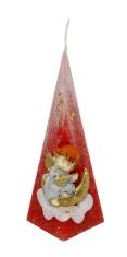 Sviečka: Anjel s mesiacom, pyramída - červená - 176g