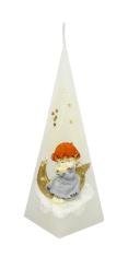 Sviečka: Anjel s mesiacom, pyramída - biela - 176g