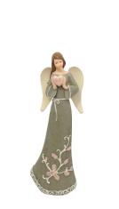 Anjel: so srdcom, hnedý - 17,5 cm