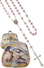 Ruženec: Svätá rodina - ružový (1071-D E306) - s púzdrom