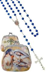 Ruženec: Svätá rodina - modrý (1071-D E306) - s púzdrom
