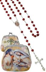 Ruženec: Svätá rodina - červený (1071-D E306) - s púzdrom