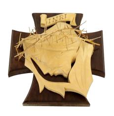 Drevorezba: Tvár na kríži - tmavohnedá (č.8)