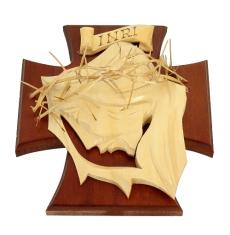 Drevorezba: Tvár na kríži - mahagónová (č.8)