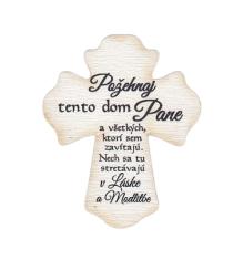 Magnetka: drevený kríž - Požehnaj tento dom Pane