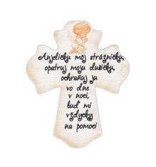 Magnetka: drevený kríž - Anjeličku môj strážničku...
