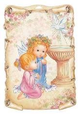 Obrázok na dreve: Anjel s dievčatkom (ODZ049)