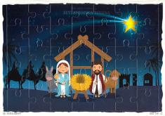 Puzzle: Betlehemská rodina - 35 dielikov