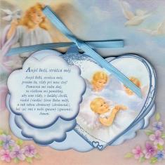 Obrázok na dreve: Anjel strážny - modrý (CLANGH-4) - s modlitbičkou