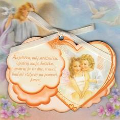 Obrázok na dreve: Anjel strážny - oranžový (CLANGH-3) - s modlitbičkou