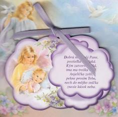 Obrázok na dreve: Anjel strážny - fialový (CLANG-1) - s modlitbičkou