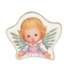 Magnetka: Anjel, drevený - ružový (MZ018-B)