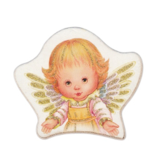 Magnetka: Anjel, drevený - žltý (MZ018-A)