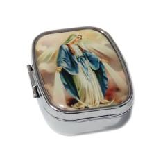 Krabička: na ruženec, kovová, Zázračná medaila (KRZ006) - strieborná farba