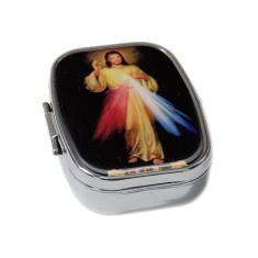 Krabička: na ruženec, kovová, Božie Milosrdenstvo (KRZ006) - strieborná farba