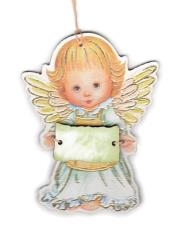 Anjel drevený s ceduľkou zelenou (ADZ012)