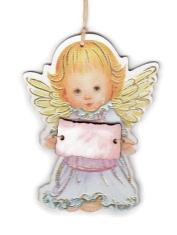 Anjel drevený s ceduľkou ružovou (ADZ012)