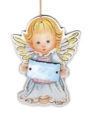Anjel drevený s ceduľkou modrou (ADZ012)