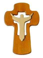 Drevorezba: Kríž s korpusom - hnedý (KDZ014)