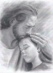 Obraz na dreve: Pán Ježiš a dievča 28 x 21 (ODZ061)