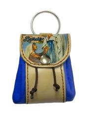 Kľúčenka: kožené vrecko Lurdy - modrá (12/115)