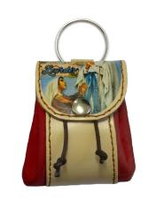 Kľúčenka: kožené vrecko Lurdy - bordová (12/115)