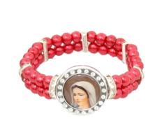 Náramok: Panna Mária Medžugorská - červený (4299-J)