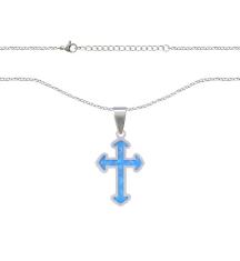Retiazka s príveskom: Krížik - modrý (NS028)