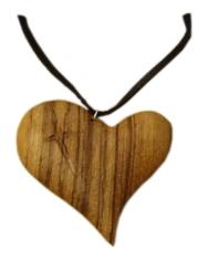 Prívesok: drevené srdce - Zebrano