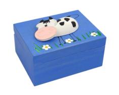 Krabička: drevená so zvieratkom - tmavomodrá (K)