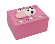 Krabička: drevená so zvieratkom - ružová (K)