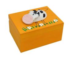 Krabička: drevená so zvieratkom - oranžová (K)