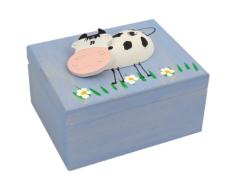 Krabička: drevená so zvieratkom - bledomodrá (K)