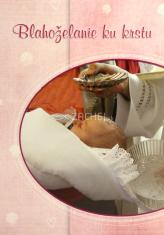 Pozdrav: Blahoželanie ku krstu - s textom, ružové - s obálkou