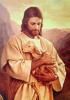 Obraz na dreve: Pán Ježiš s ovečkou (15x10)