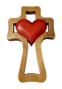 Kríž: drevený 1 srdce - bordové (LK004)