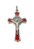 Prívesok: Benediktínsky krížik - červený (K0235st.) - strieborná farba